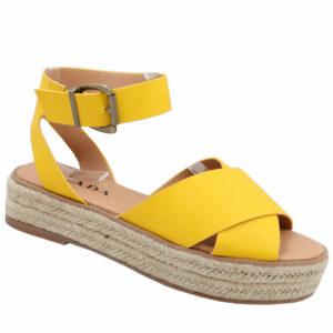 Jada Ladies Cross Over Strap Flat Form Sandal Mustard