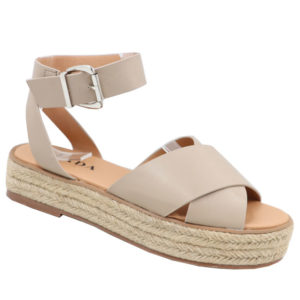 Jada Ladies Cross Over Strap Flat Form Sandal Stone