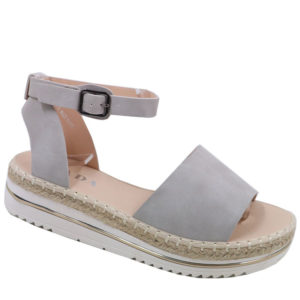 Jada Ladies Nubuck Wedge Espadrille Sandal Grey