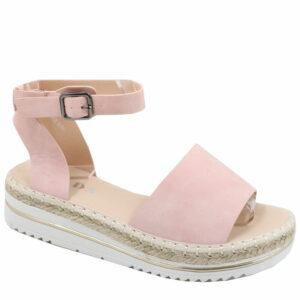 Jada Ladies Nubuck Wedge Espadrille Sandal Pink