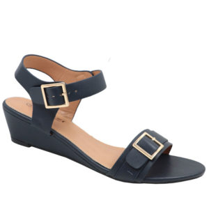 Tatazi Ladies Double Buckled Covered Wedge Sandal Navy