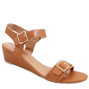 Tatazi Ladies Double Buckled Covered Wedge Sandal Tan