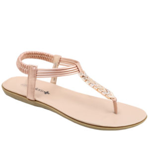 Spoiler Ladies Thong Sandal with Diamante Detail Rose Gold