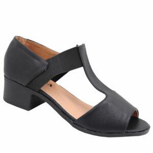 Jada Ladies Elasticated Low Heel Sandal Black