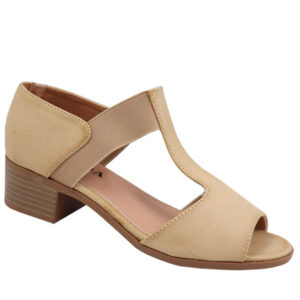 Jada Ladies Elasticated Low Heel Sandal Stone