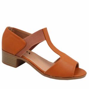 Jada Ladies Elasticated Low Heel Sandal Tan