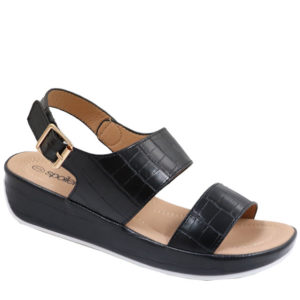 Spoiler Ladies Comfort Croc Sandal with Side Buckle Black