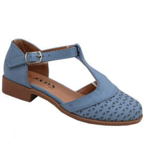 Jada Kidz Girls T-bar Low Heel Sandal Soft Blue