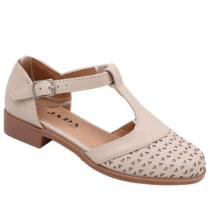 Jada Kidz Girls T-bar Low Heel Sandal Nude