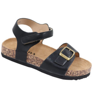 Jada Kidz Leather Look Sandal with Ankle Strap Black