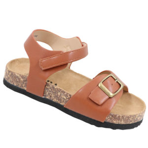 Jada Kidz Leather Look Sandal with Ankle Strap Tan