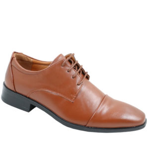 City Style Mens Round Nose PU Lace Up Shoe Tan