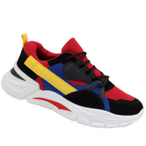 City Style Mens Multicolour Chunky Takkie Black/Red