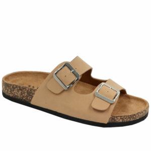 Jada Ladies Micro Double Buckle Mule Sand