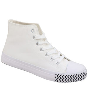 DSL Ladies Hi Top Leather Look Boot Takkie White