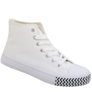 DSL Mens Hi Top PU Leather Look Takkie White