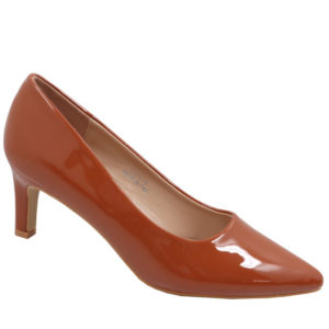 Jada Ladies Fashion Patent Low Heel Burnt Orange