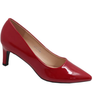 Jada Ladies Fashion Patent Low Heel Cherry Red