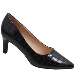 Jada Ladies Fashion Croc Low Heel Black