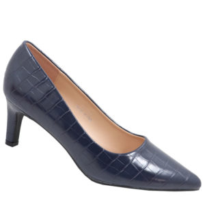 Jada Ladies Fashion Croc Low Heel Navy