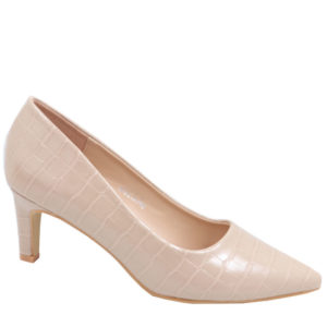 Jada Ladies Fashion Croc Low Heel Nude