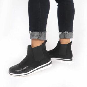 Jada Ladies Micro Fibre Flat Form Ankle Boot Black