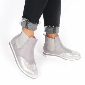 Jada Ladies Micro Fibre Flat Form Ankle Boot Grey