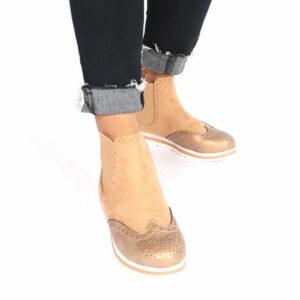 Jada Ladies Micro Fibre Flat Form Ankle Boot Tan