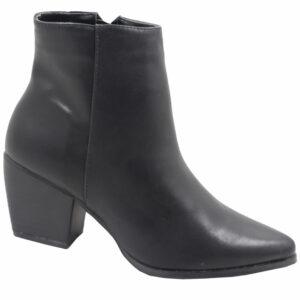 Jada Ladies PU Block Heel Ankle Boot Black