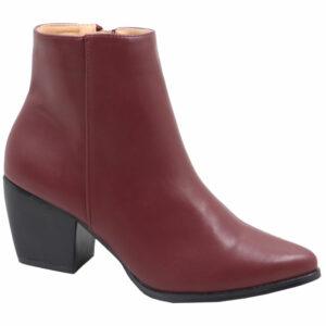 Jada Ladies PU Block Heel Ankle Boot Burgundy