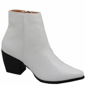 Jada Ladies PU Block Heel Ankle Boot White