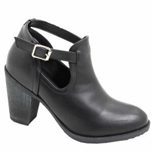Jada Ladies Leather Look Ankle-Tie Boot Black