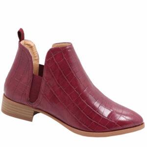 Jada Ladies Croc Double Gusset Ankle Boot Burgundy