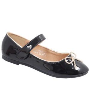 Jada Kidz Mary Jane Patent Pump With Velcro Strap Black