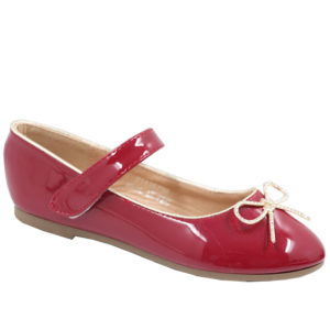 Jada Kidz Mary Jane Patent Pump With Velcro Strap Burgundy