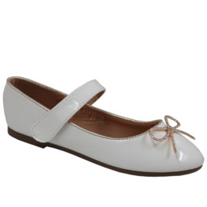 Jada Kidz Mary Jane Patent Pump With Velcro Strap White