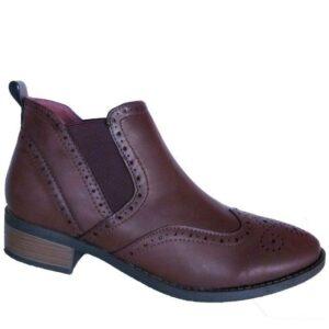 Jada Ladies Flat Boot With Brogue Detail Choc