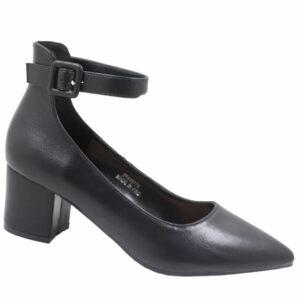 Jada Ladies Low PU Block Heel With Ankle Strap Black
