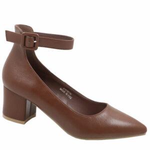Jada Ladies Low PU Block Heel With Ankle Strap Mid Brown
