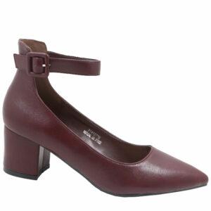Jada Ladies Low PU Block Heel With Ankle Strap Grape