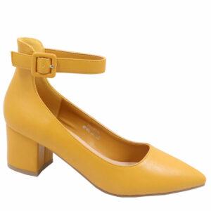 Jada Ladies Low PU Block Heel With Ankle Strap Mustard
