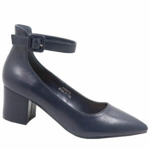 Jada Ladies Low PU Block Heel With Ankle Strap Navy