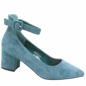 Jada Ladies Microfibre Block Heel With Ankle Strap Aqua