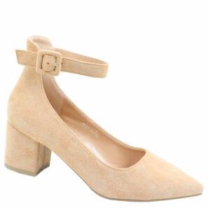 Jada Ladies Microfibre Block Heel With Ankle Strap Beige