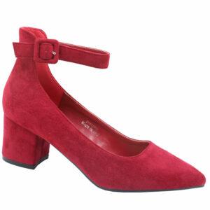 Jada Ladies Microfibre Block Heel With Ankle Strap Burgundy