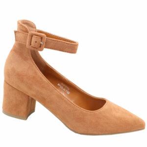 Jada Ladies Microfibre Block Heel With Ankle Strap Cinnamon Brown