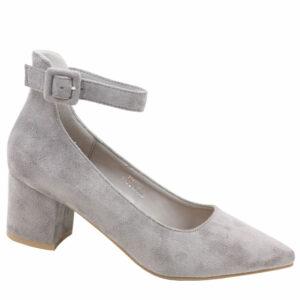 Jada Ladies Microfibre Block Heel With Ankle Strap Grey