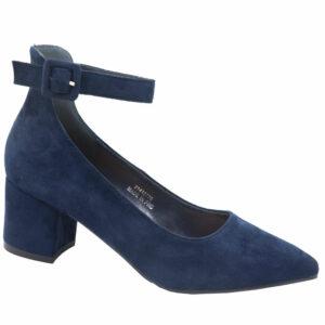 Jada Ladies Microfibre Block Heel With Ankle Strap Navy
