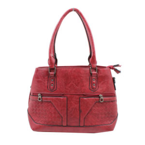 BLACKCHERRY RED TOTE BAG WITH ZIPPED DETAILING