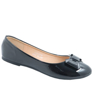 City Style Ladies Patent Pump With Bow Black